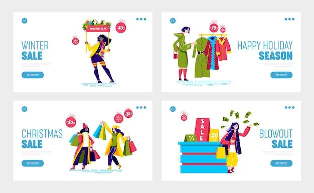 Mulheres comprando durante as vendas de natal e conceito de descontos