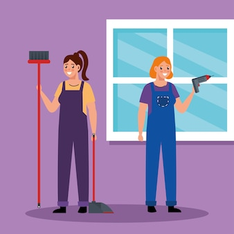 Mulheres construtoras com furadeira e vassoura