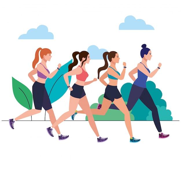 Mulheres correndo ao ar livre, mulheres correndo no parque, mulheres do grupo no sportswear, movimentando-se na natureza