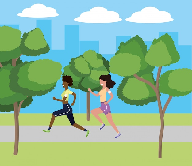 Mulheres correndo com sportwear