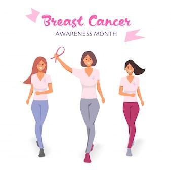 Mulheres correndo em campanha para lutar no mês de conscientização de câncer de mama.