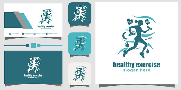 Mulheres correndo saudável logotipo design ilustração modelo cartão de visita fundo