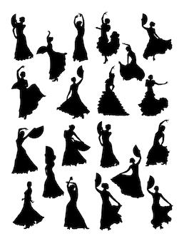 Mulheres dançando silhueta de flamenco Vetor Premium