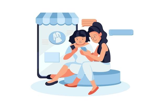 Mulheres dando resenhas de compras online ilustração