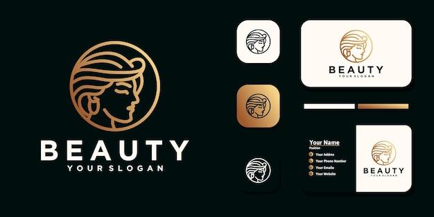 Mulheres de beleza, cuidados de beleza, rosto feminino, cor dourada, elegância, com logotipo de arte de linha e cartão de visita