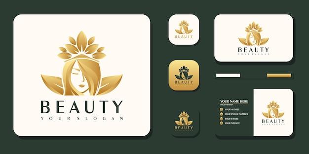 Mulheres de beleza, cuidados de beleza, rosto feminino, cor dourada, elegância, logotipo e referência de cartão de visita premium vector