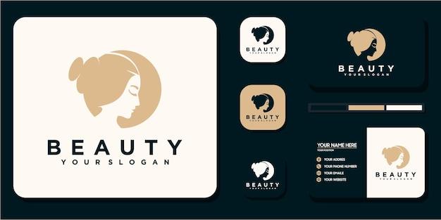 Mulheres de beleza, cuidados de beleza, rosto feminino, cor dourada, elegância, logotipo e referência do cartão de visita