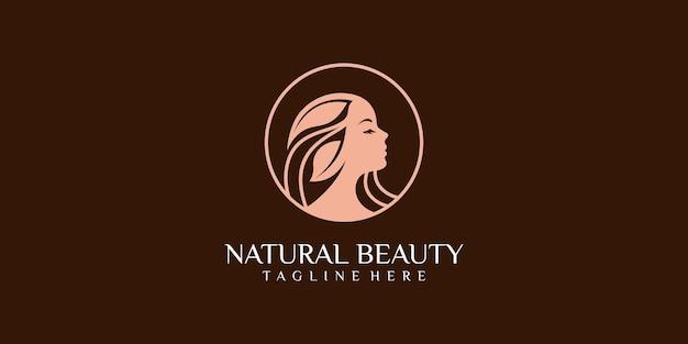 Mulheres de beleza para salão com design de logotipo de estilo moderno
