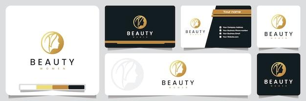 Mulheres de beleza, spa e salão de beleza, com cor dourada, inspiração para design de logotipo