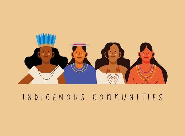 Mulheres de comunidades indígenas com pano tradicional em fundo laranja