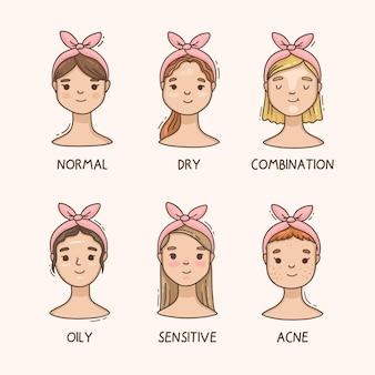 Mulheres de desenho animado com diferentes tipos de pele Vetor Premium