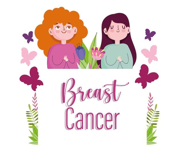 Mulheres de desenho animado de câncer de mama com flores de borboletas e ilustração de letras