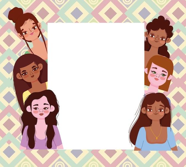 Mulheres de diferentes nacionalidades e culturas com estandartes, diversos avatares