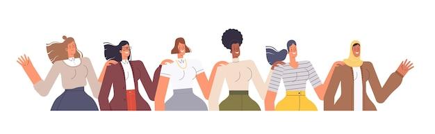 Mulheres de diferentes nacionalidades se alinham e colocam as mãos nos ombros umas das outras. o conceito de amizade feminina e coesão