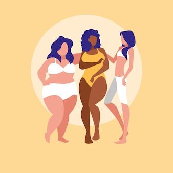 Mulheres de diferentes tamanhos e raças, modelando roupas íntimas