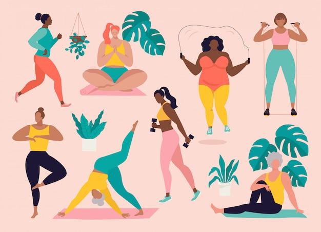 Mulheres de diferentes tamanhos, idades e raças praticando esportes.