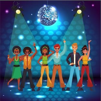 Mulheres de discoteca cantando e dançando no palco