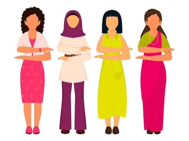 Mulheres de diversidade fazendo gesto de braço de igualdade de cada um para o símbolo de igual no fundo branco.
