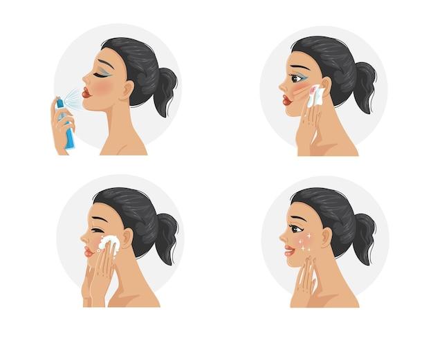 Mulheres de etapa de removedor de maquiagem lavam o rosto.