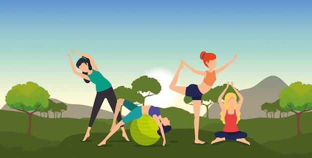 Mulheres de fitness praticam ioga com montanhas e árvores