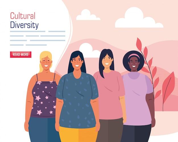 Mulheres de grupos multiétnicos, conceito cultural e de diversidade