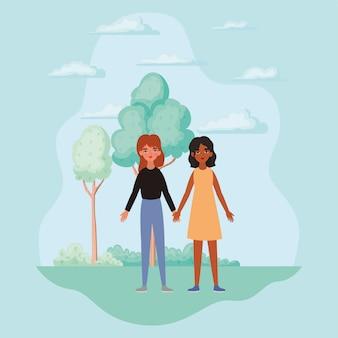 Mulheres de mãos dadas árvores arbustos e nuvens design de empoderamento feminino poder feminismo gênero feminismo direitos jovens protestam e tema forte ilustração vetorial