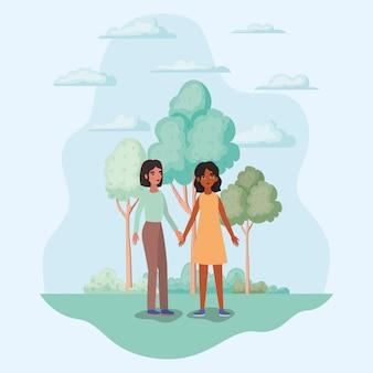 Mulheres de mãos dadas árvores arbustos e nuvens