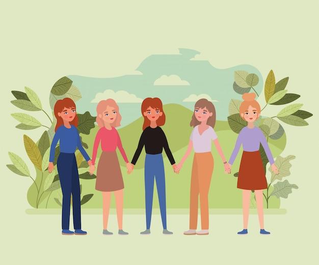 Mulheres de mãos dadas folhas e nuvens
