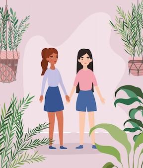 Mulheres de mãos dadas folhas e plantas