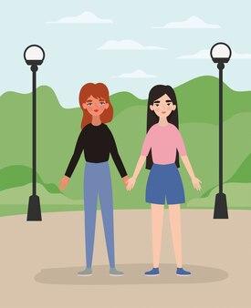 Mulheres de mãos dadas no parque design de poder feminino poder feminista pessoas gênero feminismo direitos jovens protestam e tema forte ilustração vetorial