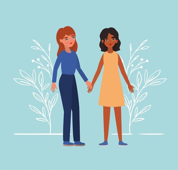 Mulheres de mãos dadas no parque e folhas