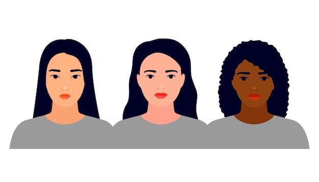Mulheres de nacionalidades diferentes asiático pele branca e negra união de amizade feminina de feministas