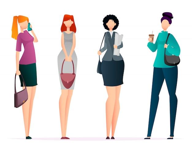 Mulheres de negócios bem sucedidos, conjunto de quatro poses
