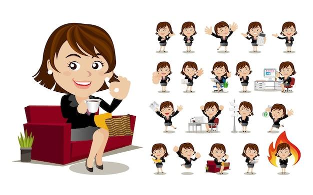 Mulheres de negócios com poses diferentes.