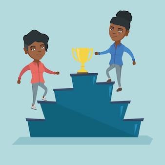 Mulheres de negócios competindo pelo prêmio de negócios.