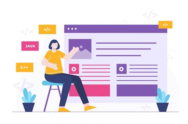 Mulheres de negócios e ilustração plana do site