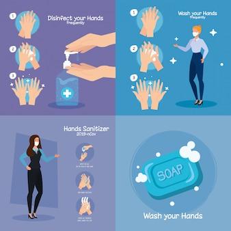 Mulheres de negócios e mãos lavando etapas