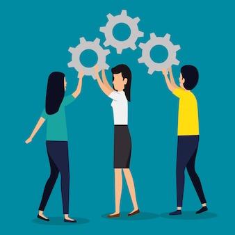 Mulheres de negócios e trabalho em equipe homem com a indústria de engrenagens