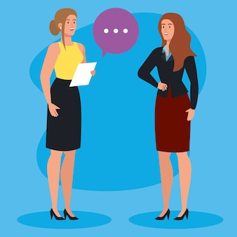 Mulheres de negócios elegantes com balão de fala e design de ilustração de documentos