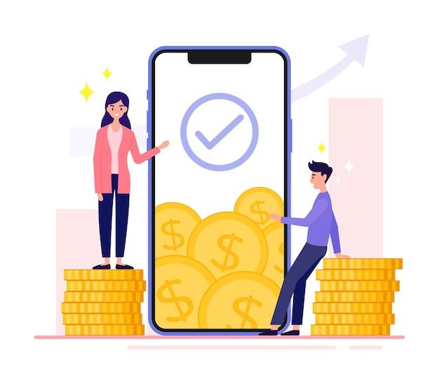 Mulheres de negócios explicam como aumentar o valor financeiro por meio de smartphones. empresário sentado sobre uma pilha de moedas de ouro. mídia social, comércio eletrônico, telefone enorme.