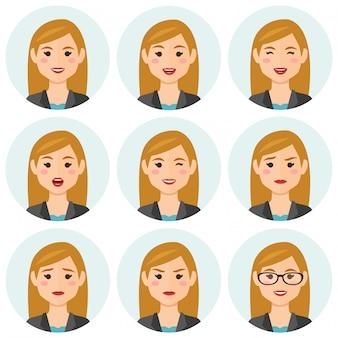Mulheres de negócios expresions avatar