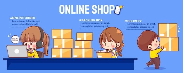 Mulheres de negócios fofas vendendo online