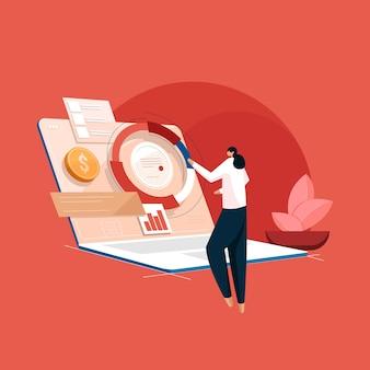 Mulheres de negócios gerenciam finanças e trabalham em projetos usando diagrama trabalho de casa com dispositivo moderno e apresentação de produtos de tecnologia de mídia da web on-line