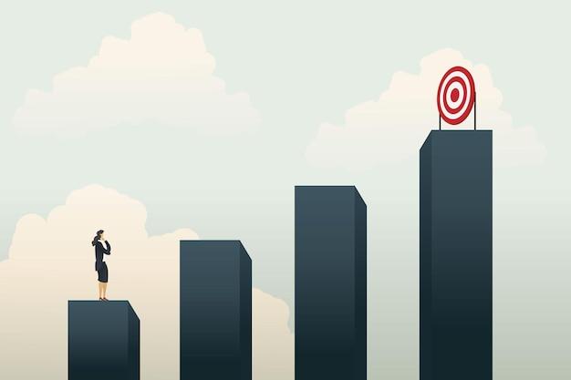 Mulheres de negócios líderes pensam em como chegar ao topo da tabela para atingir as metas de negócios