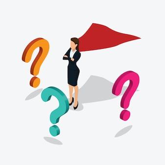 Mulheres de negócios super permanente com ponto de interrogação