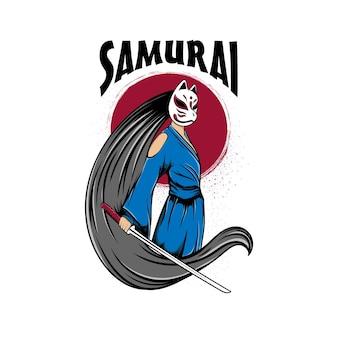 Mulheres de samurai com logotipo de máscara de raposa com letras de samurai em fundo branco