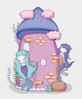 Mulheres de sereias bonitinha e castelo com nuvens