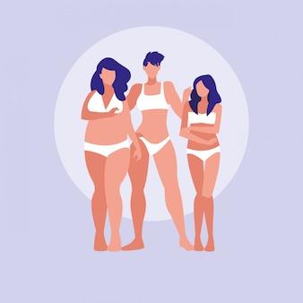 Mulheres de tamanhos diferentes, modelagem de roupas íntimas