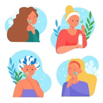Mulheres desenhadas à mão usando rolo de jade