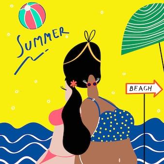 Mulheres, desfrutando, a, verão, vetorial